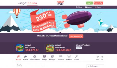spill bingo på nett hos mamamia bingo