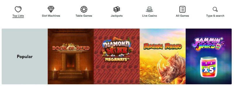 Spillutvalg hos Casumo Casino