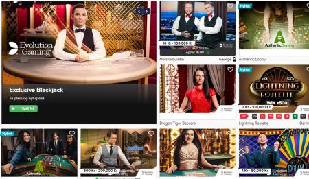 live casino og bonuser hos casinoeuro