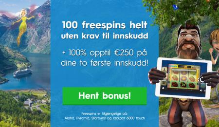 100 freespins uten innskuddskrav hos NorgesCasino