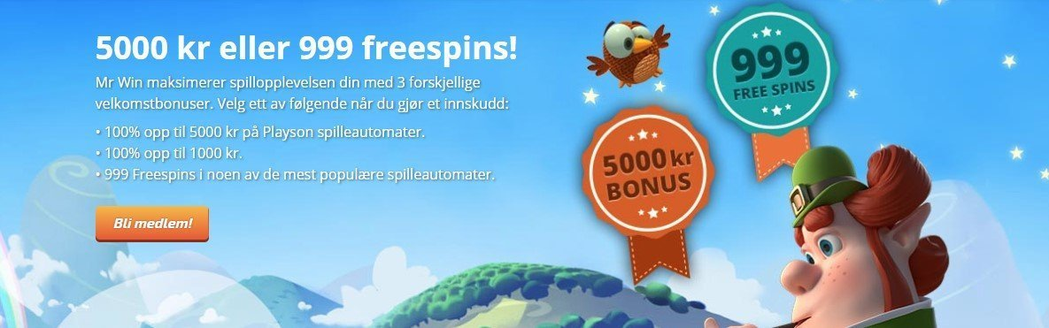 du får en fantastisk casino bonus hos mr win casino