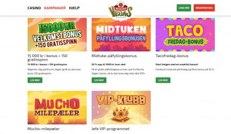 kampanjer og bonuser hos muchovegas casino