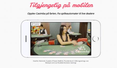 spill på mobil og live casino hos casimba casino