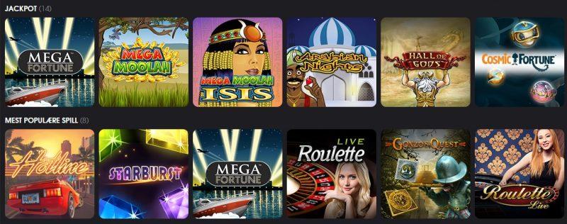 LetsBet Casino - Spillutvalg