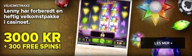 SuperLenny Casino bonus velkomstbonus