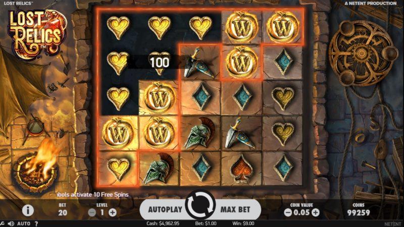 Lost Relics Spilleautomat fra NetEnt Screenshot