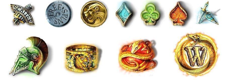 Lost Relics fra NetEnt - Symbolene i spilleautomaten