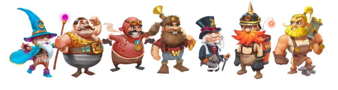 Symboler i Dwarfs Gone Wild fra Quickspin