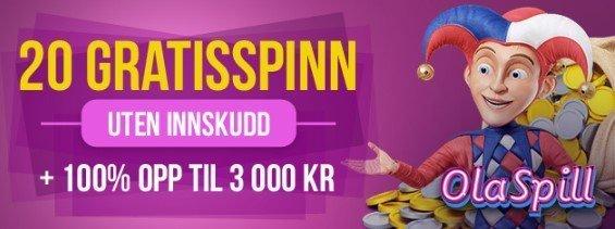 OlaSpill Casino bonus og gratisspinn