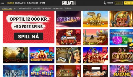 goliath casino har et bra utvalg av casinospill