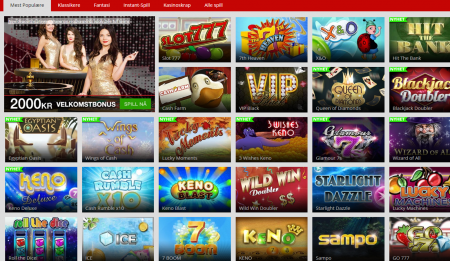 stort spillutvalg hos magicred casino