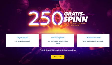 få 250 gratisspinn hos igame casino