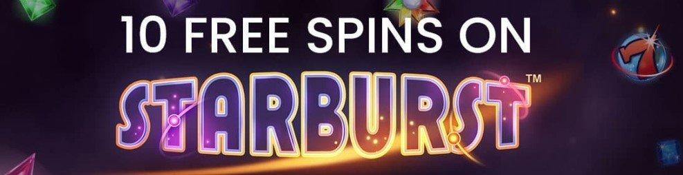 10 freespins på Starburst hos Slotsino Casino