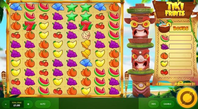 Tiki Fruits spilleautomat av Red Tiger Gaming 2