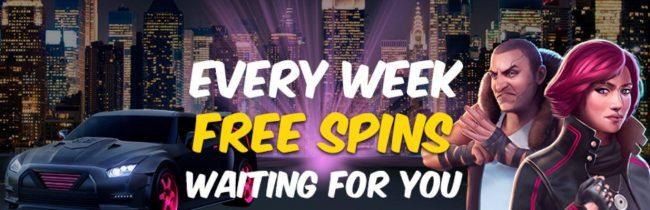 du får nye gratis spinn hver uke hos hotline casino