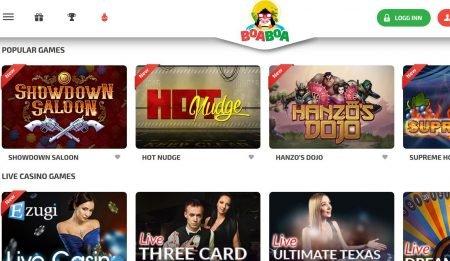 BoaBoa Spillutvalg og Live Casino