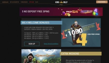 Kampanjer hos King Billy Casino