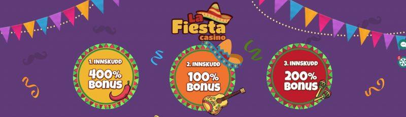 Du får en stor velkomstbonus hos La Fiesta Casino