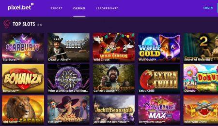 Pixel.bet Casino Skjermbilde av spillutvalg