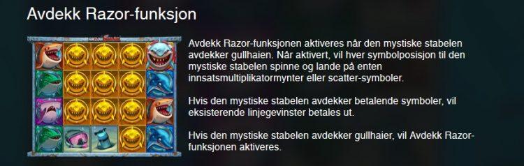 funksjon i shark razor fra push gaming