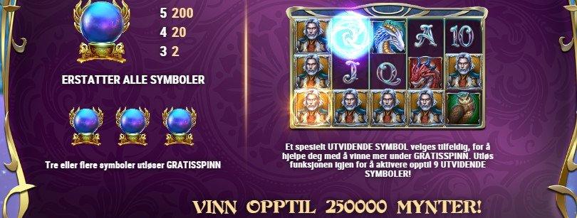 funksjoner i rise of merlin spilleautomat