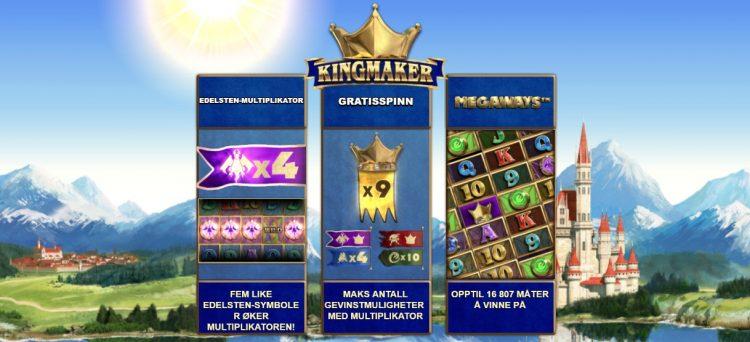 kingmaker megaways spilleautomat funksjoner