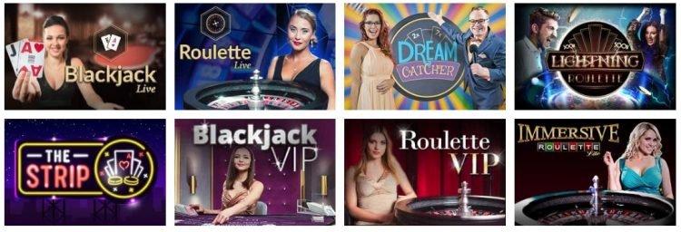 live casino utvalg hos slotanza