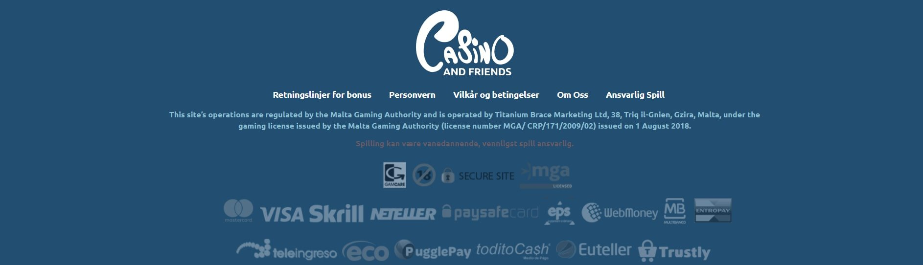 Casino and friends betalingsmetoder