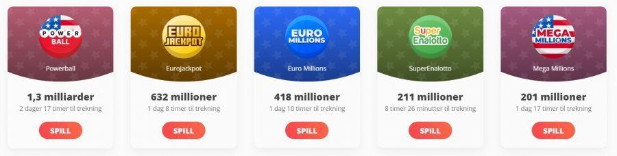 megalotto lotterier og jackpoter