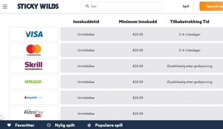 stickywilds Casino betalingsmetoder